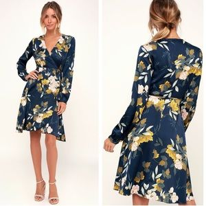 Lulu's Love is Life Blue Floral Satin Wrap Dress